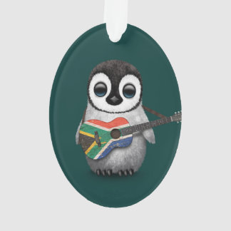 Penguin Playing South African Flag Guitar Teal Ornament