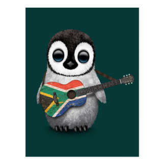 Penguin Playing South African Flag Guitar Teal Postcard