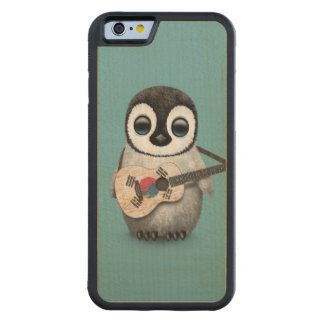 Penguin Playing South Korean Flag Guitar Blue Carved Maple iPhone 6 Bumper Case