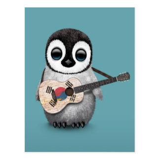 Penguin Playing South Korean Flag Guitar Blue Postcard
