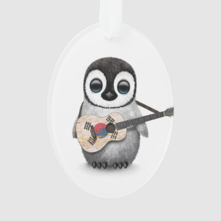 Penguin Playing South Korean Flag Guitar Ornament