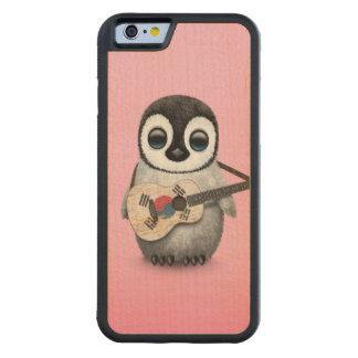 Penguin Playing South Korean Flag Guitar Pink Carved Maple iPhone 6 Bumper Case