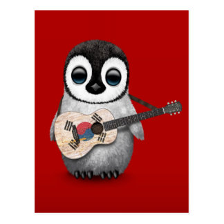 Penguin Playing South Korean Flag Guitar Red Postcard