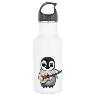 Penguin Playing South Korean Flag Guitar Stainless Steel Water Bottle