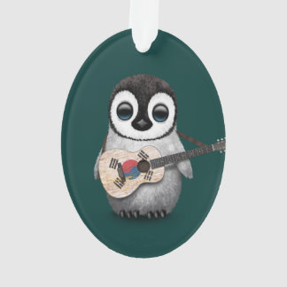 Penguin Playing South Korean Flag Guitar Teal Ornament