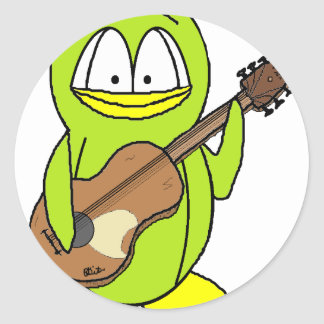 Penguin Playing the Guitar Classic Round Sticker