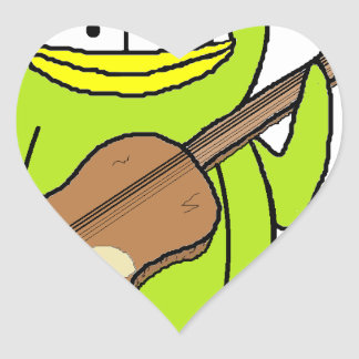 Penguin Playing the Guitar Heart Sticker