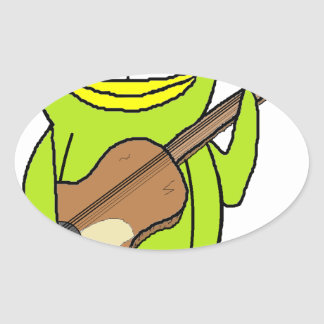 Penguin Playing the Guitar Oval Sticker