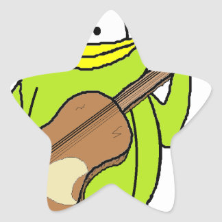 Penguin Playing the Guitar Star Sticker