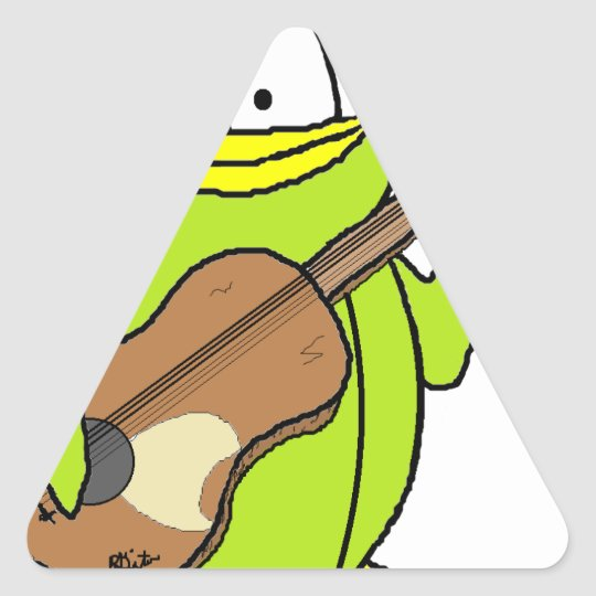 Penguin Playing the Guitar Triangle Sticker