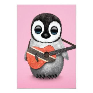 Penguin Playing Trinidad & Tobago Flag Guitar Pink Card