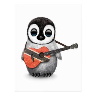 Penguin Playing Trinidad & Tobago Flag Guitar Postcard