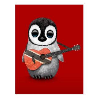 Penguin Playing Trinidad & Tobago Flag Guitar Red Postcard