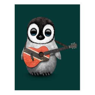 Penguin Playing Trinidad & Tobago Flag Guitar Teal Postcard