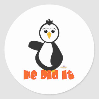 Penguin Pointing Right He Did It Orange Round Sticker