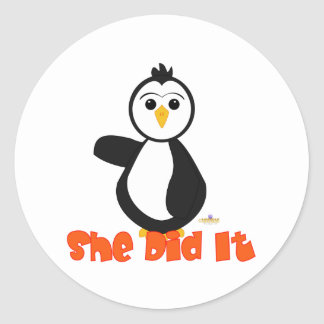Penguin Pointing Right She Did It Orange Round Sticker