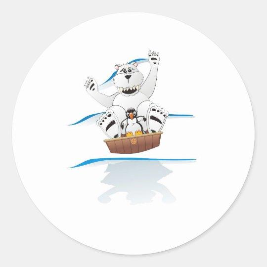 Penguin Polar Bear Classic Round Sticker