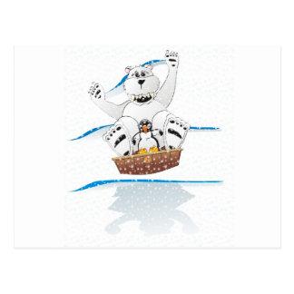 Penguin Polar Bear Snow Postcard