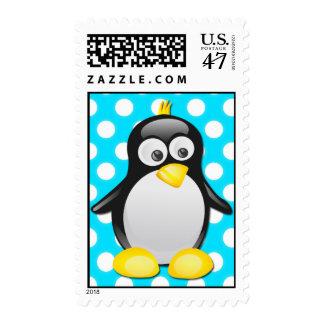 Penguin Polka Dot Postage Template