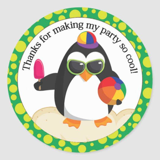 Penguin Pool or Beach Birthday Thank you Classic Round Sticker