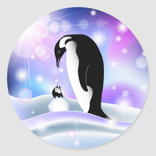 Penguin postcard and notecard for wishes classic round sticker