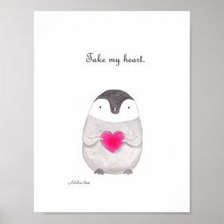 Penguin Poster Cute Penguin Love Red Heart Print