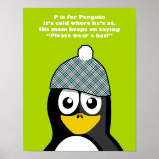 Penguin poster for kid's room, nursery, playroom