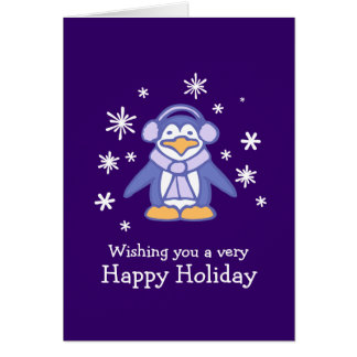 Penguin purple Christmas card