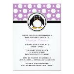Penguin Purple Polka Dot Baby Shower Invitations