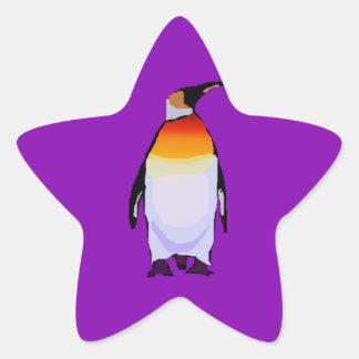 Penguin Purple Star Sticker