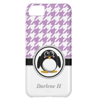 Penguin Purple & White Houndstooth iPhone 5 Case