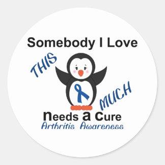 Penguin Raising Awareness To Arthritis Classic Round Sticker