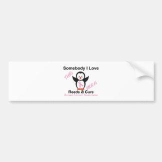 Penguin Raising Breast Cancer Awareness Bumper Sticker