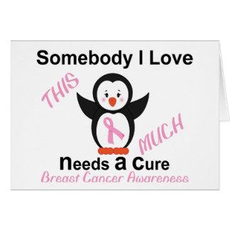 Penguin Raising Breast Cancer Awareness Card