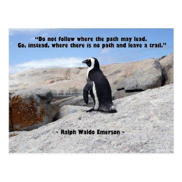 Beach Themed Penguin, Ralph Waldo Emerson Quote Postcard