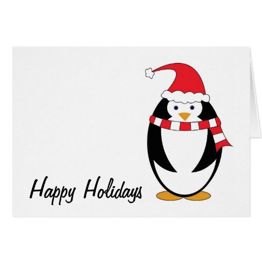 Penguin Red Clothes Holiday Card