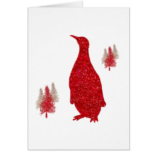 Penguin Red Faux Glitter Penguins Christmas Card