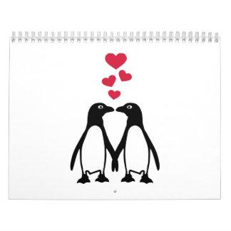 Penguin red hearts love calendar