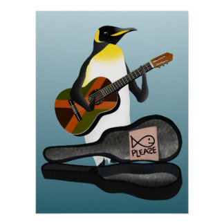 Penguin Reggae Guitar Poster