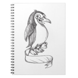 Penguin Ribbon Side Tattoo Notebook