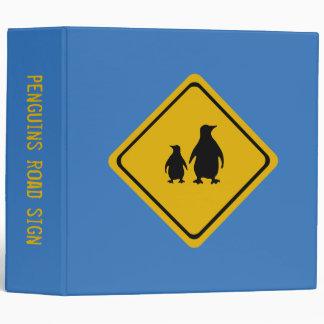 penguin road sign 3 ring binder