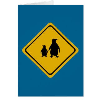 penguin road sign card
