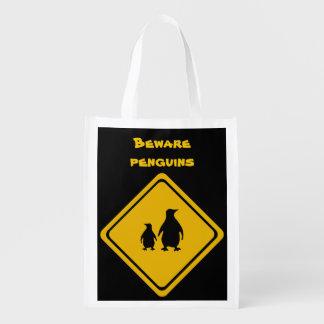 penguin road sign grocery bag