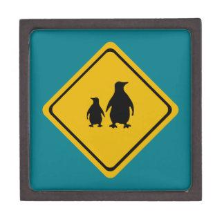 penguin road sign keepsake box