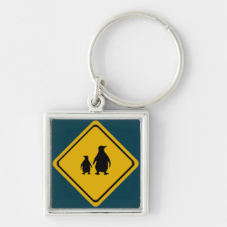 penguin road sign keychain