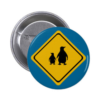 penguin road sign pinback button