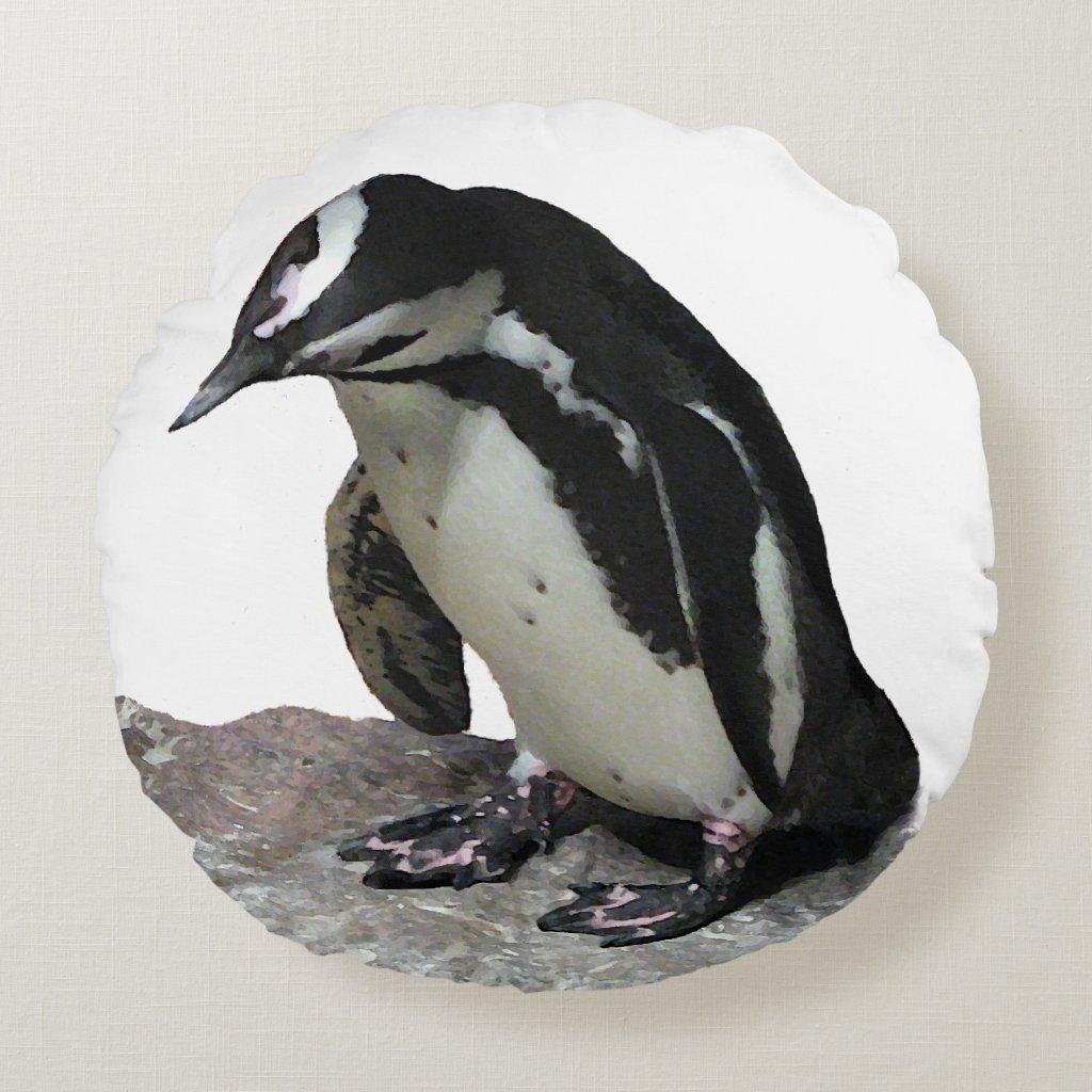 Penguin Round Throw Pillow