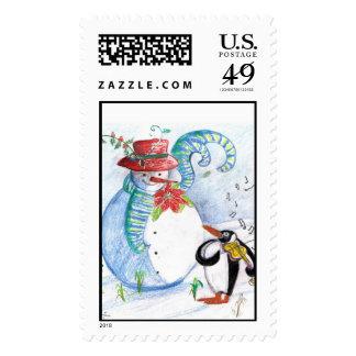PENGUIN S SERENADE white blue red black Postage Stamp