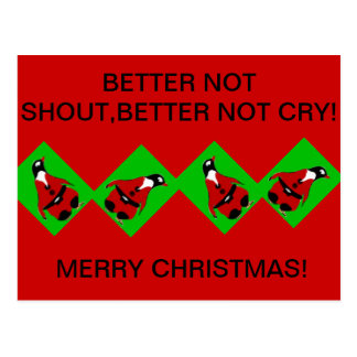Penguin santa,better not shout post cards