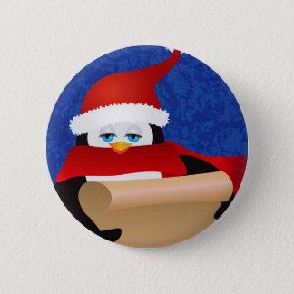 Penguin Santa Holding Scroll Illustration Button